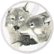 Forever Wolf Love-the Greeting Round Beach Towel