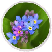Forget-me-not Stylized Round Beach Towel