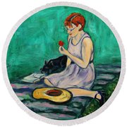 Forget Me Not... Round Beach Towel by Xueling Zou