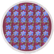 Forgetmenot Pattern On Marsala In Square Round Beach Towel