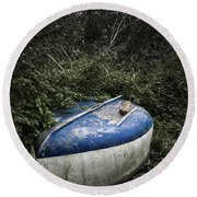 Forgotten Boat Round Beach Towel
