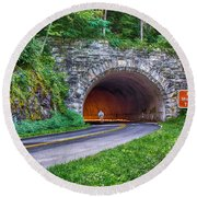 Fork Mountain Tunnel Round Beach Towel