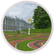 Formal Garden In Front Of The Palace Round Beach Towel