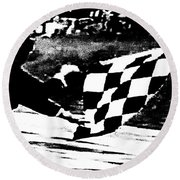 Formula 1 Vintage Checkered Flag Round Beach Towel