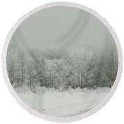 Forrest Of Frost Round Beach Towel