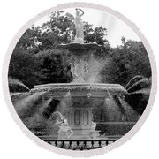 Forsyth Park Fountain - Black And White 2x3 Round Beach Towel