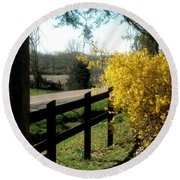 Forsythia Along The Highway Round Beach Towel