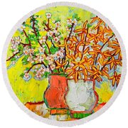 Forsythia And Cherry Blossoms Spring Flowers Round Beach Towel