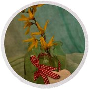 Forsythia Yellow Bells Round Beach Towel