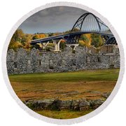 Fort Crown Point At Lake Champlain Round Beach Towel