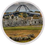 Fort Crown Point Panorama Round Beach Towel