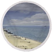 Fort Gratiot Light House Beach Round Beach Towel