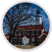 Fort Gratiot Lighthouse And Buildings With Clouds Round Beach Towel