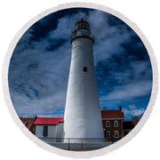 Fort Gratiot Lighthouse From The Water Side Round Beach Towel