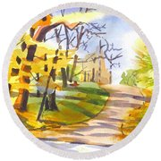Fort Hill In Arcadia Round Beach Towel by Kip DeVore