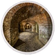 Fort Macomb Arches Vertical Round Beach Towel by David Morefield