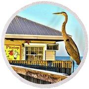Fort Myers Beach Bird On Pier Round Beach Towel