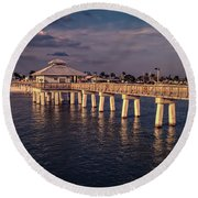 Fort Myers Beach Fishing Pier Round Beach Towel