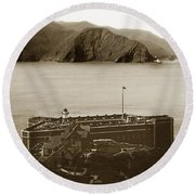 Fort Point And The Golden Gate San Francisco Circa 1890 Round Beach Towel