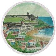 Fort San Felipe Del Morro From Fort San Cristobal Pr Round Beach Towel