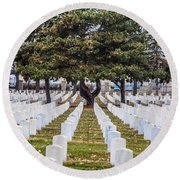 Fort Snelling National Cemetery Round Beach Towel