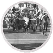 Fort Worth Herd Cattle Drive Round Beach Towel