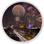 Fort Worth Skyline At Night Fireworks Color Evening Ft. Worth Texas Round Beach Towel