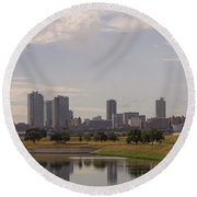Fort Worth Skyline Partly Cloudy Round Beach Towel