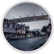 Fort Worth Stockyards Bw Round Beach Towel