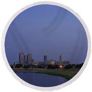 Fort Worth Sunset Skyline Round Beach Towel