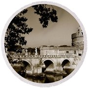 Fortress And Bridge In Sepia Round Beach Towel