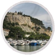 Fortress And Harbor Cassis Round Beach Towel