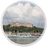 Fortress And Harbor - Cote D'azur Round Beach Towel