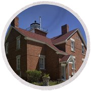 Forty Mile Point Lighthouse In Michigan Number 417 Round Beach Towel