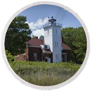 Forty Mile Point Lighthouse In Michigan Number 450 Round Beach Towel