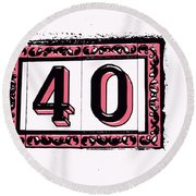 Forty Pink And Black Round Beach Towel