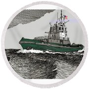 Foss Tractor Tugboat Round Beach Towel