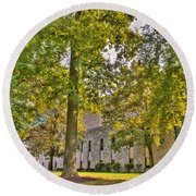 Founders Hall Portico Entrance Round Beach Towel