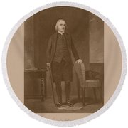 Founding Father Samuel Adams Round Beach Towel by War Is Hell Store