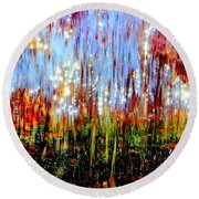 Water Fountain Abstract 3 Round Beach Towel