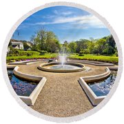 Fountain And Park In Zagreb Round Beach Towel