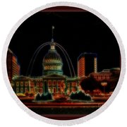 Fountain At City Garden In Neon Framed Round Beach Towel