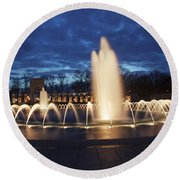 Fountain At Night World War II Memorial Washington Dc Round Beach Towel