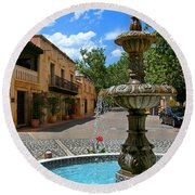 Fountain At Tlaquepaque Arts And Crafts Village Sedona Arizona Round Beach Towel
