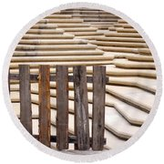 Fountain Stepped Concrete And Fence Round Beach Towel