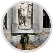 Fountain In A Palace Garden Round Beach Towel