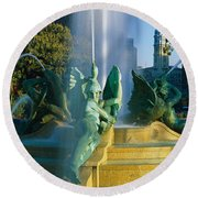 Fountain In Front Of A Building, Logan Round Beach Towel