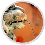 Fountain Lion Round Beach Towel