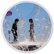 Fountain Of Youth Round Beach Towel by Karen Wiles