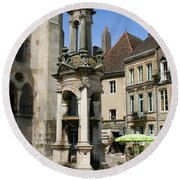 Fountain On The Market Place Autun Round Beach Towel